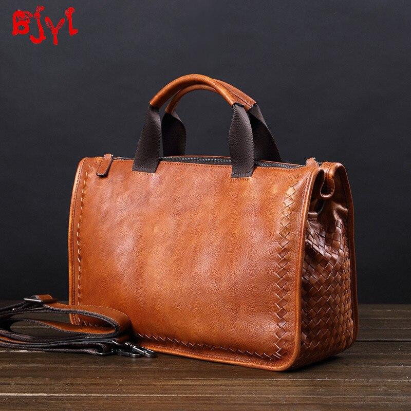Vintage Genuine Leather Men's Handbag Retro Casual Travel Shoulder Messenger Bag Hand-woven Business Briefcase Male Laptop Bags