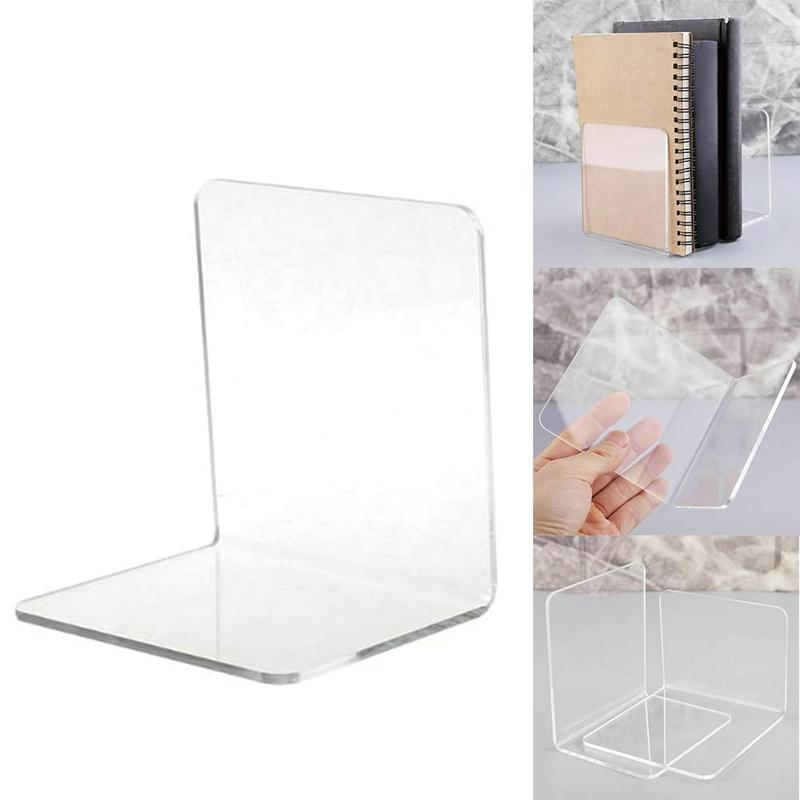 1pcs Transparent Acrylic Book Stand L-shaped Desk Organizer Desktop Book Holder Book Reading Accessories Stationery Supplies