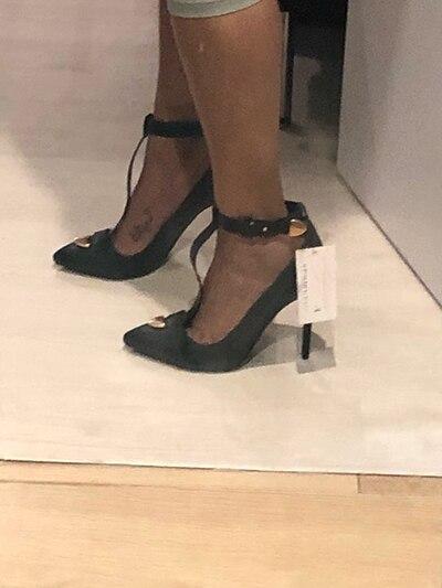 Metallick T Strap escarpins à talons aiguilles bout pointu mince chaussures à talons hauts femme - 5