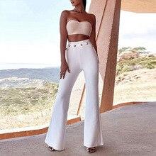 Seamyla 2020 新夏フレアパンツ女性のセクシーなスキニーパンツハイウエスト白、赤、黒ズボンパーティーボディコン包帯パンツロング