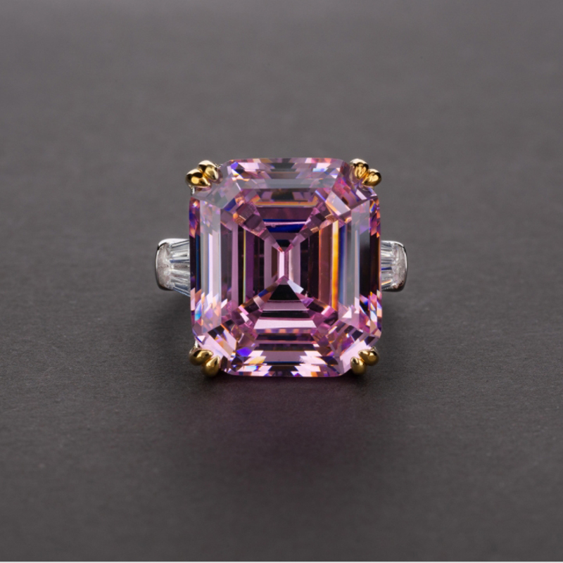OEVAS Luxury Big Square Pink Yellow White AAAAA+ Zicon S925 Sterling Silver Wedding Rings Girls Birthday Stone Jewelry Dropship 8