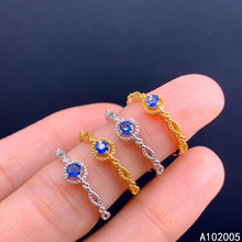 KJJEAXCMY fine jewelry 925 sterling silver inlaid natural sapphire new Female adjustable ring lovely Support test hot selling kjjeaxcmy fine jewelry 925 sterling silver inlaid natural lapis new female adjustable ring popular support test hot selling