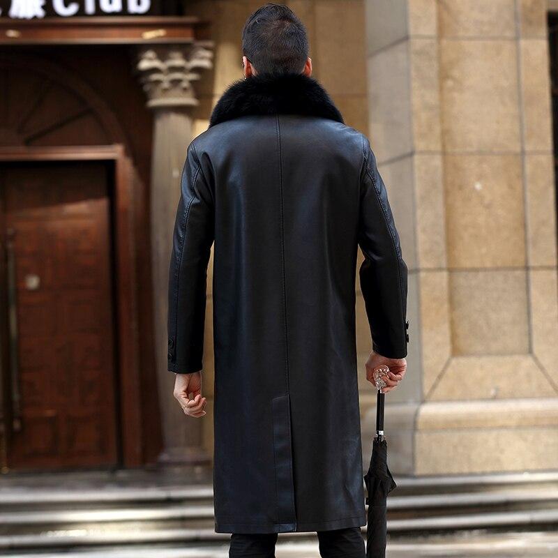 Genuine Leather Jacket Fur Coats Men Winter 2020 Plus Size 5XL Male Split Leather Overcoat Warm Thicken Long Parka Mujer :LX2581