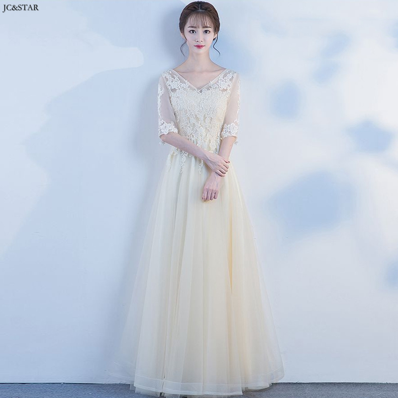 Robe demoiselle d'honneur sexy V neck lace half sleeve A Line champagne bridesmaid dress custom vestidos para bod wedding guest