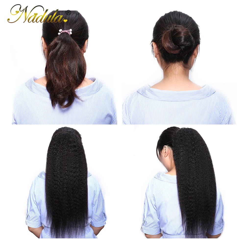 Nadula Hair 10-24inch Kinky Straight Hair Ponytail 1 Pieces Natural Black Clip In Ponytails Drawstring 100%  2
