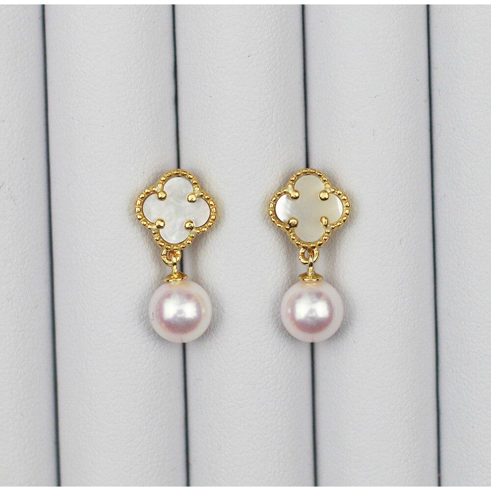 MADALENA SARARA 8.5mm perle d'eau salée Sakura rose boucles d'oreilles perle Akoya boucles d'oreilles S925 boucles d'oreilles de luxe bijoux élégants