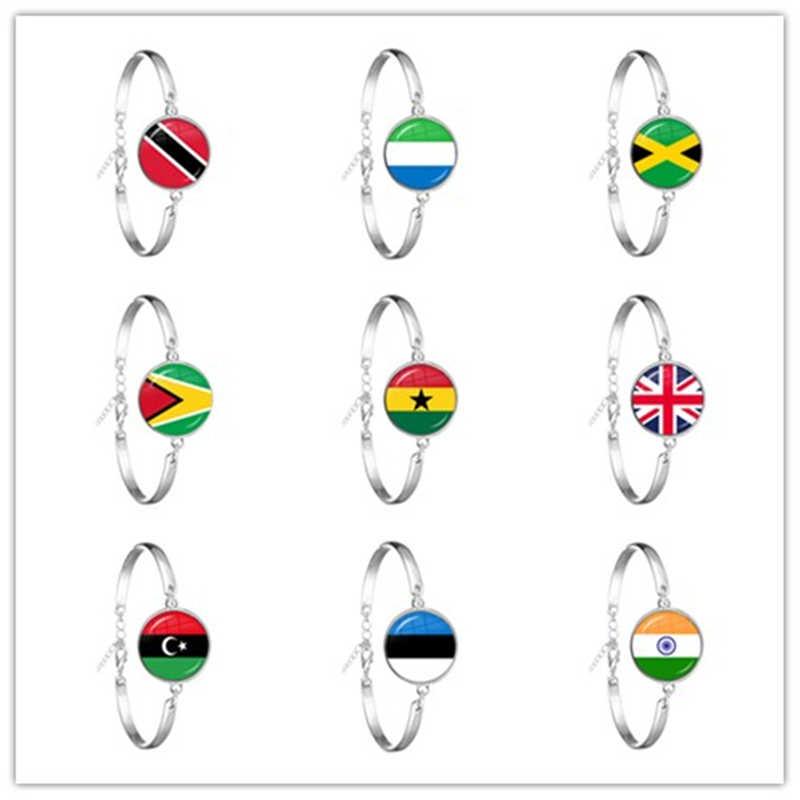 をトリニダード、シエラレオネ、ジャマイカ、ガイアナ、ガーナ、英国、リビア、エストニア、インド国旗ガラス Cabohcon のための子供のギフト