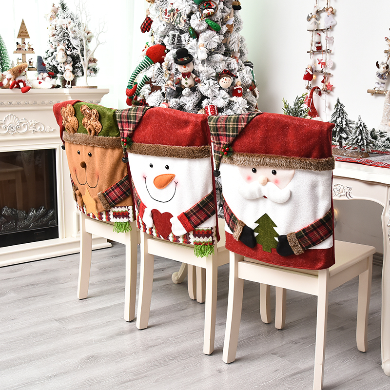Christmas Chair Back Elastic Stretch Cover Santa Clause Holiday Party Decor Dining Kitchen Chair Covers Christmas