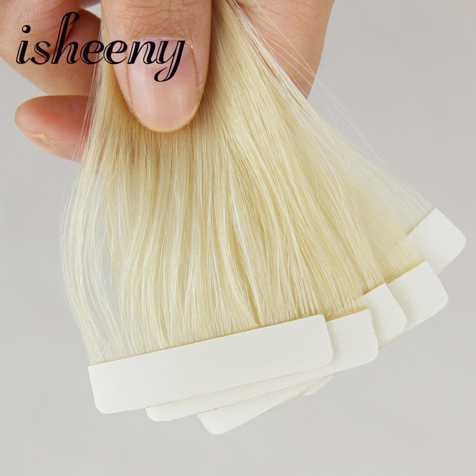 Isheeny Remy прямые человеческие волосы для наращивания на ленте образцы Perfessional салонные волосы для наращивания на коже 10 шт. для тестирования