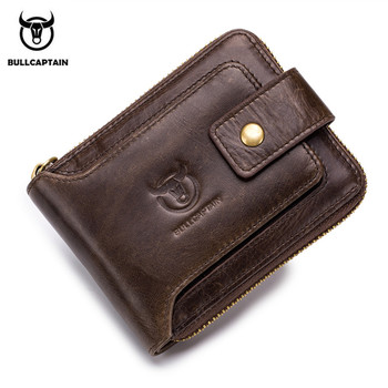 BULLCAPTAIN Functional Genuine Leather Men Wallets RFID Wallet Male Organizer Coin Purse Pockets Slim Zipper Wallet Card Holder