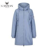GASMAN-Chaqueta azul de marca a la moda para mujer, chaqueta larga con capucha para mujer, abrigo de algodón sólido para mujer, parka de plumas a prueba de viento