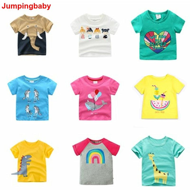Jumpingbaby Girls T-Shirt Tops Unicorn Animal-Print Kids Menina Roupa Koszulka title=