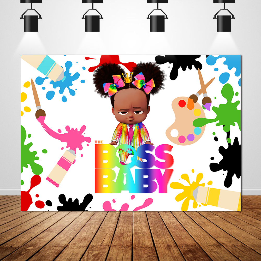 Sxy0260 African Boss Baby Theme Physical Backdrop Background Banner Girls Custom Photography Photo Birthday Party Decoration