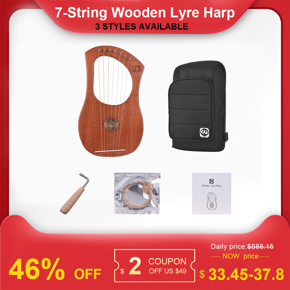 NEW 7-String Wooden Lyre Harp Metal Strings Mahogany Solid Wood String Instrument With Carry Bag String Tuning Tool For Beginner