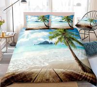 Beach Bedding Set Palm Tree Quilt Cover Queen Home Textiles Sunshine Duvet Cover Set Kids Boys Girls Bed Set Ocean Dropship