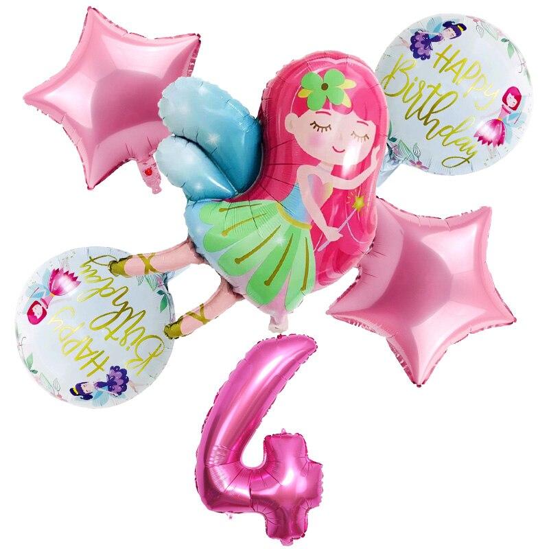 Новые воздушные шары для девочек, 6 шт./компл., маленькие воздушные шары для девочек 32 дюйма, розовые шарики с цифрами 1, 2, 3, 4, 5ST, набор украшени...