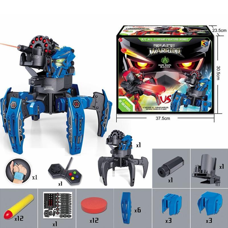 Robot radiocommandé MoFun 2.4G Space guerrier Robot 6 pattes avec disques et visée Laser