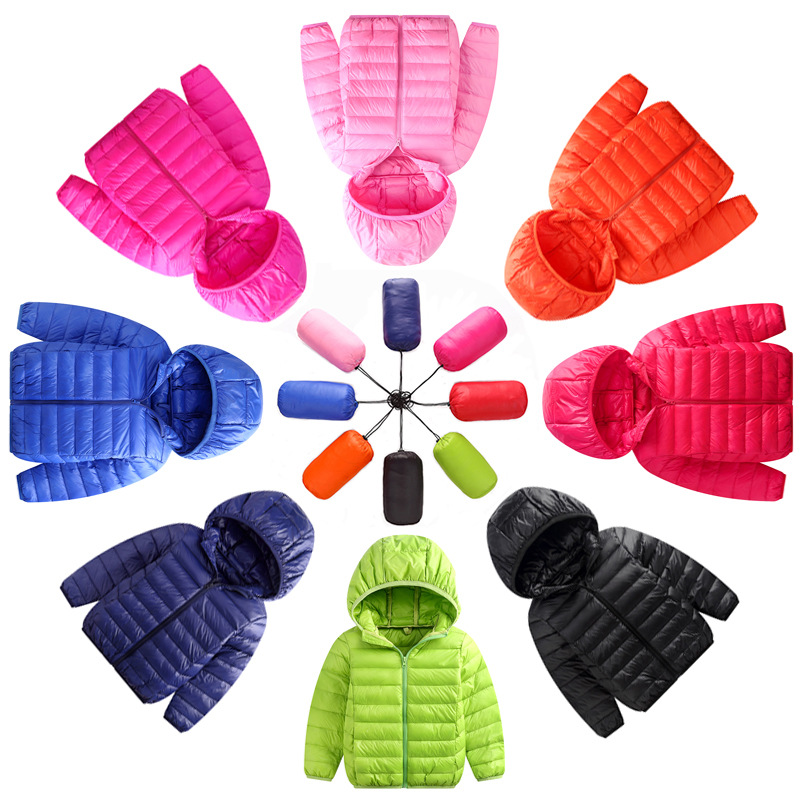 Children Down Jackets 2019 New White Duck Down Hooded Kids Winter Jackets For Boys Girls Ultra Light Portable Winter Coat