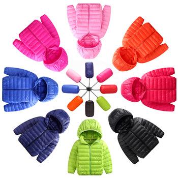 Dziecięce puchowe kurtki 2019 nowe białe puchowe z kapturem dziecięce kurtki zimowe dla chłopców dziewczęce ultralekki przenośny płaszcz zimowy tanie i dobre opinie 0 3kg WOMEN Na co dzień
