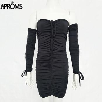 Aproms Black Ruched Pleated Short Dress 2020 Winter Club Women Sheath Bodycon Dresses Sexy Off Shoulder Mini Dress Vestidos 4