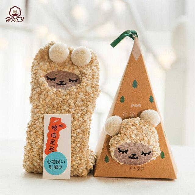 Cute Animal Design Deer Christmas Gift 3D Coral Velvet Thick New Year gift Socks 5