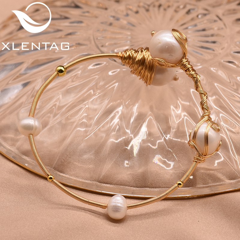 XlentAg Natural Fresh Water Pearl Handmade Adjustable Bangles For Women Wedding Engagement Party Gift Luxury Fine Jewelry GB0098 in Bracelets Bangles from Jewelry Accessories