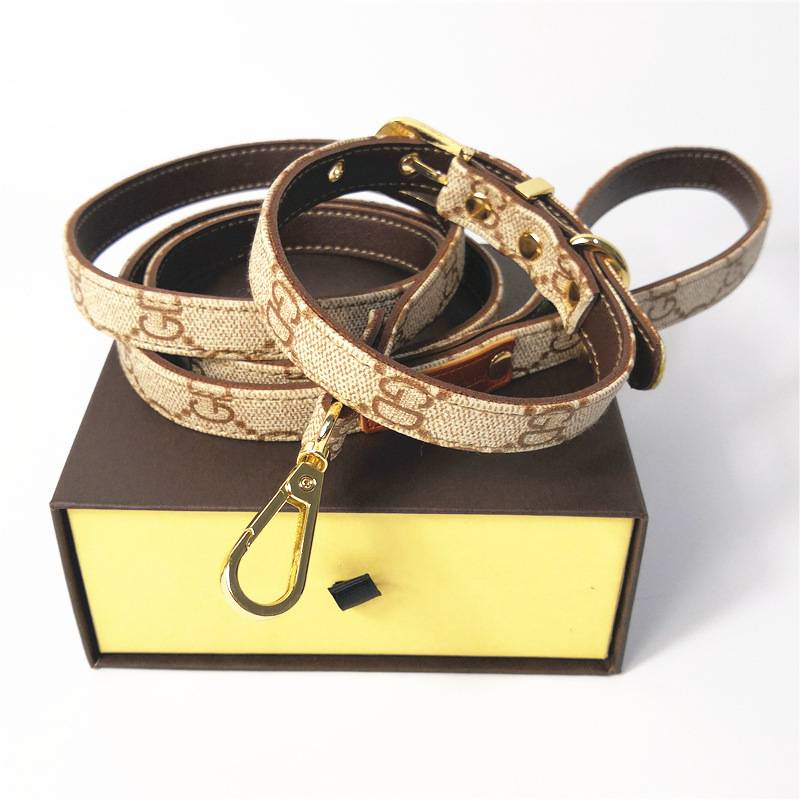 Classic Presbyopia Leather Pet Collar Leather Haulage Rope Package Dog Useful Product Pet Supplies