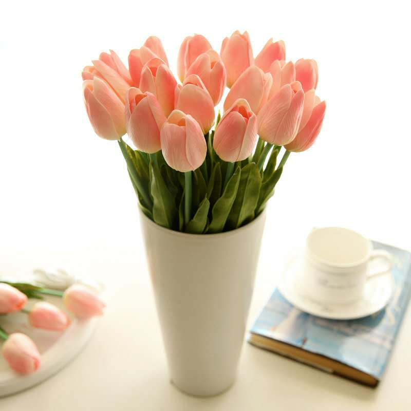 Mini tulipán flor artificial por mayor Flor de seda boda hogar flor falsa Vintage Tulip forma carillón de viento japonés campana colgante Feng Shui de hierro de jardín de casa ventana Cafe Bar decoración colgante de pared-