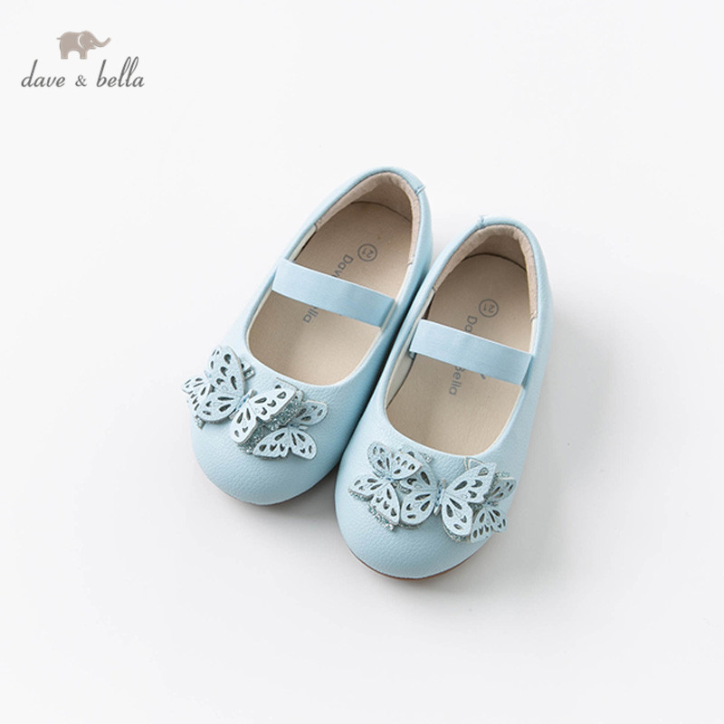 DB12632 Dave Bella Spring Baby Girl Leather Shoes Children Butterfly Blue Brand Shoes