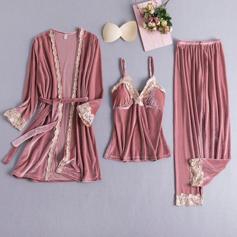 3PCS Women Casual Pajamas Set Velvet Home Clothes Lady Sexy Lace Pyjamas Suit Spring Autumn Robe&Nightie&Pant Nightwear M L XL 37