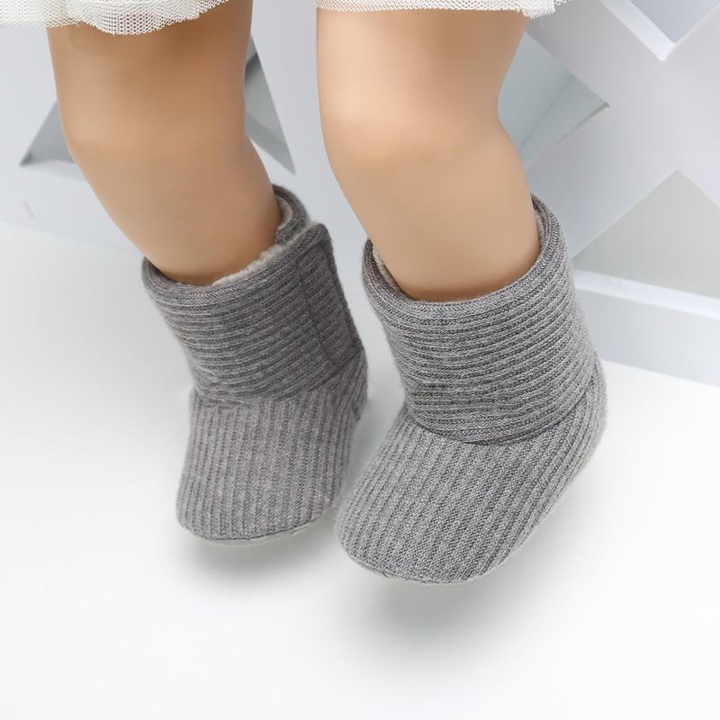 Baby Kid Boys Girls Knitted Fur Boots Toddlers Soft Sole First Walker Short Warm Soft Snow Boys Girls Boots Shoes 0-18 Months