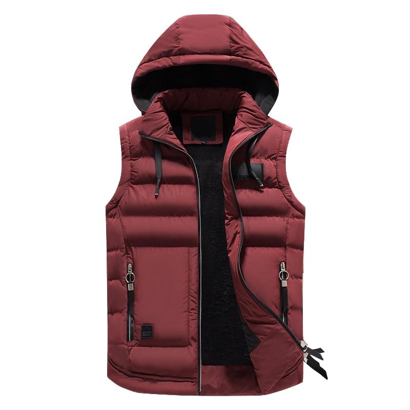 Hommes vestes d'hiver décontracté épais gilets hommes sweat à capuche sans manches manteaux mâle coton rembourré chaud mince grande poche cachemire gilet
