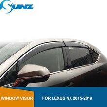 Vento Visiera deflettori Pioggia Guardie Per LEXUS NX 2015 2016 2017 2018 2019 Tenda Da Sole Tende Da Sole Rifugi Guardie accessori SUNZ