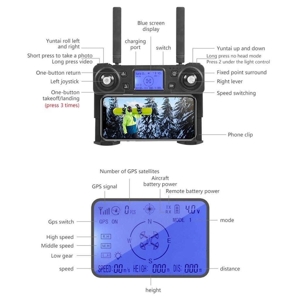 Квадрокоптер K20 складной с GPS, двойной камерой 4K HD, 1800 м Квадрокоптеры с камерами      АлиЭкспресс