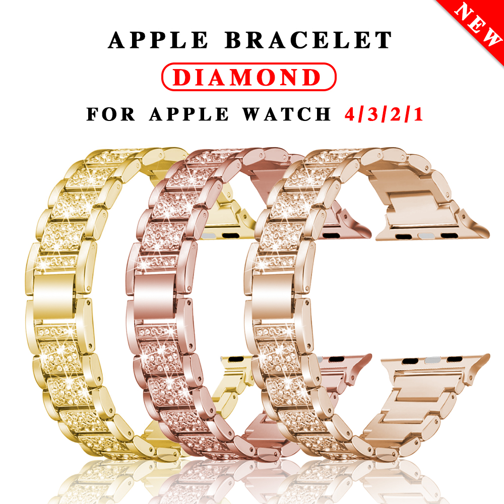 Diamant Band + Fall Für Apple Watch 5 4 40mm 44mm iwatch serie 3 2 1 38mm 42mm armband apple watch edelstahl strap frauen