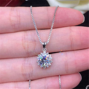 Sunflower Lab moissanite Diamond Pendant Real 925 Sterling Silver Charm Party Wedding Pendants Necklace For Women Bridal Jewelry