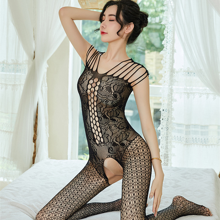 Plus Size Bodystocking Sexy Open Crotch Crotchless FishNet Sleeveless Tights Lingerie Hollow Garter Fishnet Bodysuit Underwear