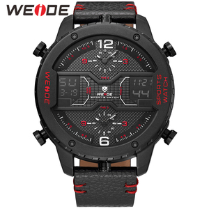 Image 4 - WEIDE mens Sports Analog Hands Digital numeral Calendar Quartz movement Brown Leather Strap Wristwatches 2019 Military Clock