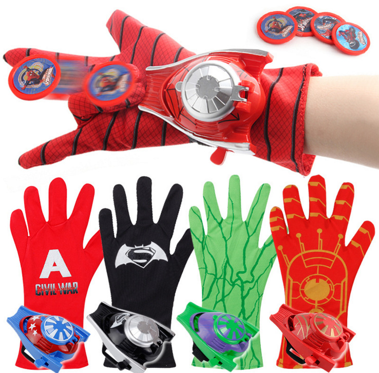Super Heroes Glove Launcher Props Spiderman Hulk Iron Man Cosplay Cool Gift Glove Launcher For Kid 24cm