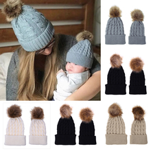 Parent Child Hat Warm Acrylic Ski Women Keep Winter Hats Casual Knitted Mesh Baseball Cap шапка женская 35