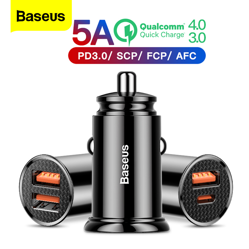Baseus Dual USB Car Charger 5A Fast Charing 2 Port USB 12-24V Car Cigarette Socket Lighter For Car USB Charger Power Adapter