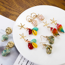 AENSOA Personality Pearl Shell Tassel Drop Earrings For Women Boho Beach Jewelry 2019 Natural Colorful Long Dangle Earring