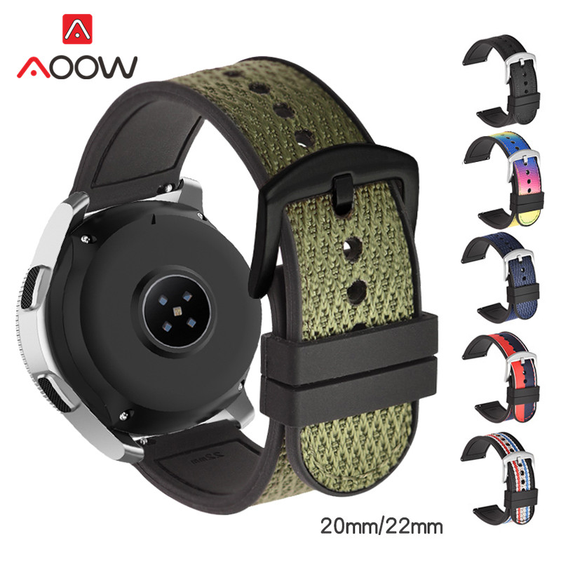 <font><b>20mm</b></font> 22mm Woven Nylon Silicone Strap Soft Rubber Sweatproof Sport Replacement <font><b>Band</b></font> <font><b>for</b></font> Samsung Galaxy Watch S3 <font><b>Amazfit</b></font> Huawei GT image