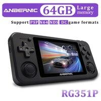 ANBERNIC-consola portátil RG351, RG350P, RG350M, Retro, Video Juego, pantalla IPS, 2400 juegos, PS1, RG351P, RG351, 64G