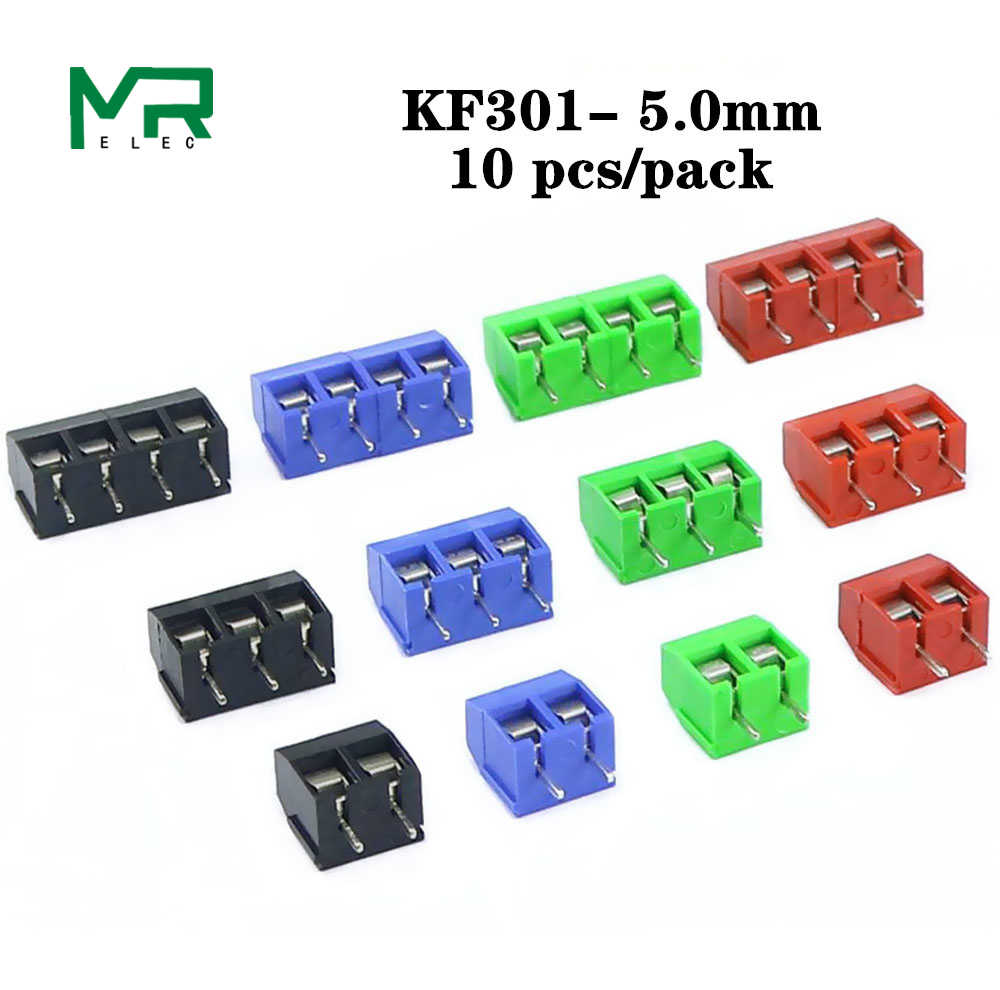 10 PCS KF301-2 P schroef 5.0mm klemmenblok 2 Pin 3 Pin Spliceable pcb blokaansluiting