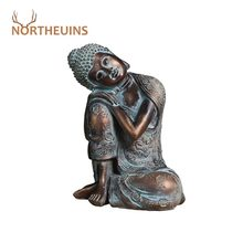 NORTHEUINS 23cm Resin Sleeping Buddha Figurines Retro Creative Character Statue Chinese Style Home Interior Living Room Decor