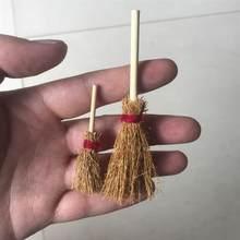 Mini balai décoratif, 10 pièces, jouet avec corde rouge, accessoire de magicien en paille pour fête d'halloween, corde rouge