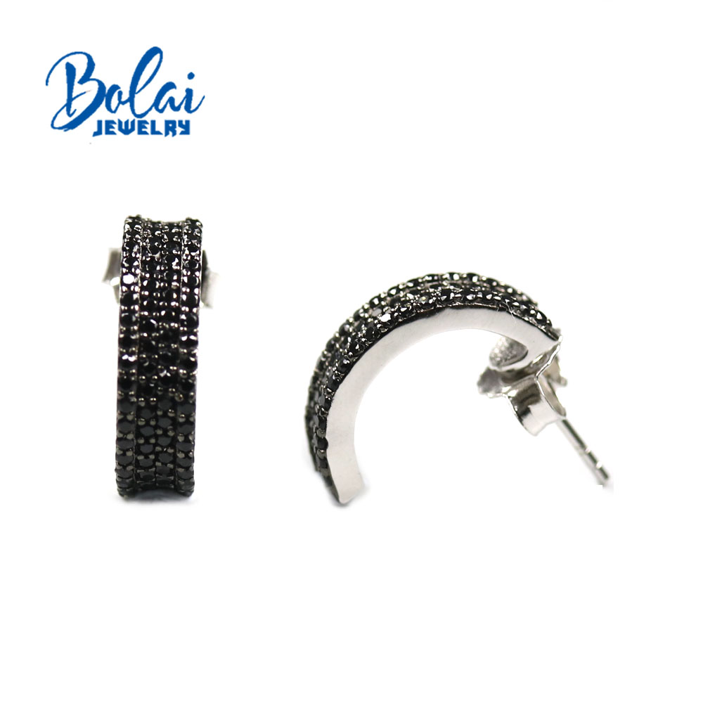 Bolai , 925 sterling silver black spinel earrings, suitable for various occasions, is a daily must-have exquisite accessories