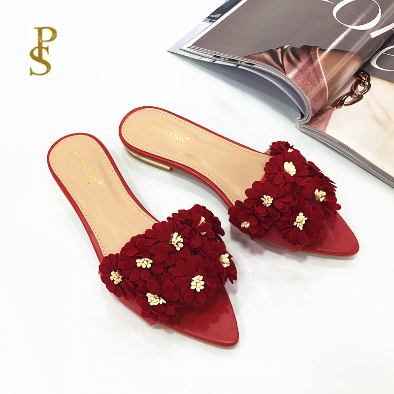 Womens shoes with flowers flat shoes pointed shoes lovely shoesSlippers   -
