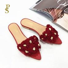 Zapatos planos con flores para mujer, zapatillas puntiagudas, zapatos encantadores